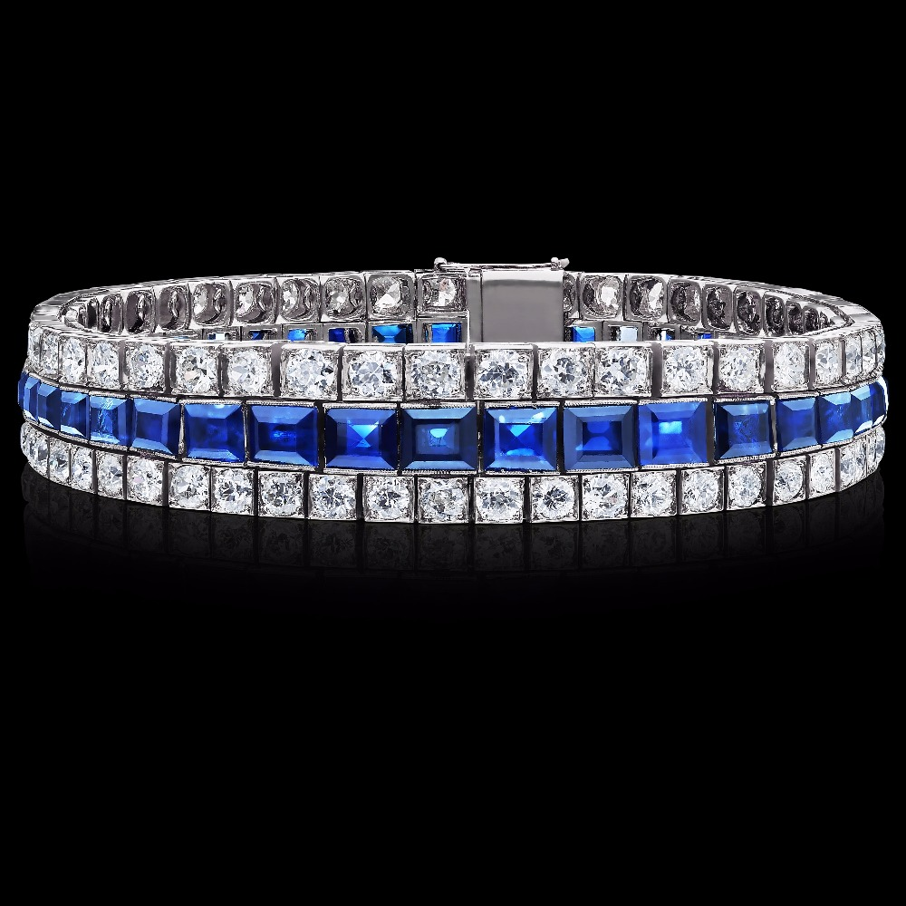 Graduated Sapphire and Diamond Art Deco Bracelet